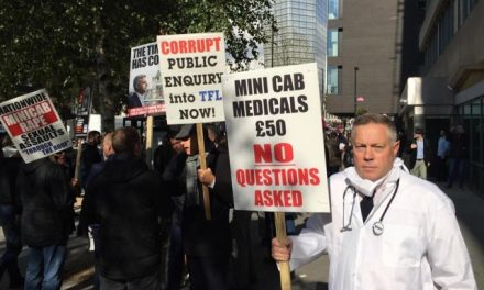Taxi Drivers Protest Over Corrupt Medicals For Private Hire Driver Applicants…..by Jim Thomas.