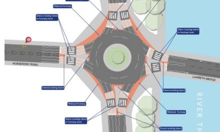 Even More Disruption On The Way : Lambeth Bridge northern roundabout.