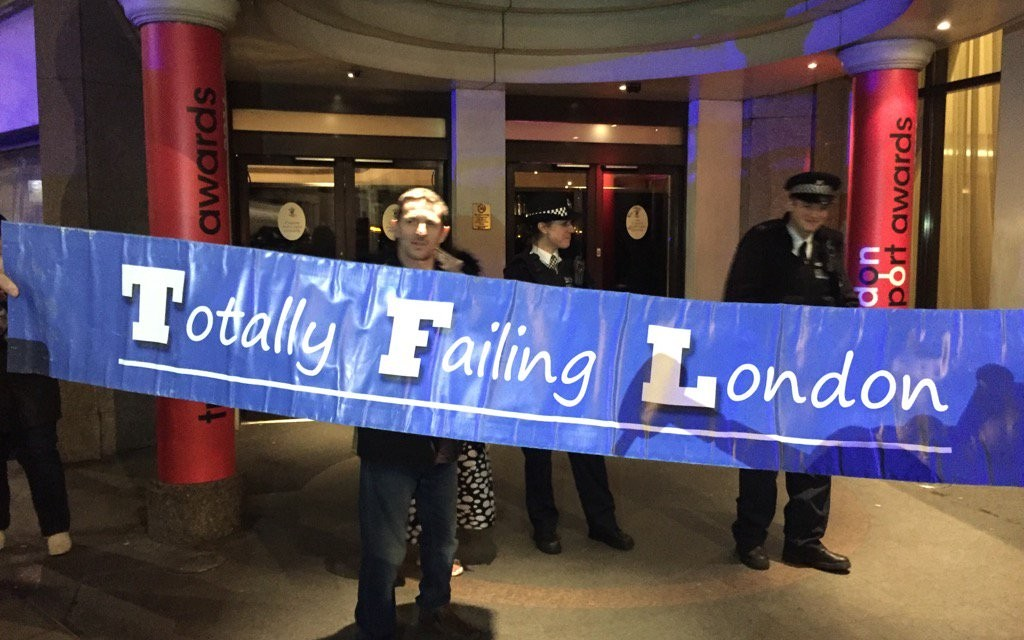Taxi Drivers Flash Demo the Royal Lancaster Hotel during the London Transport Awards