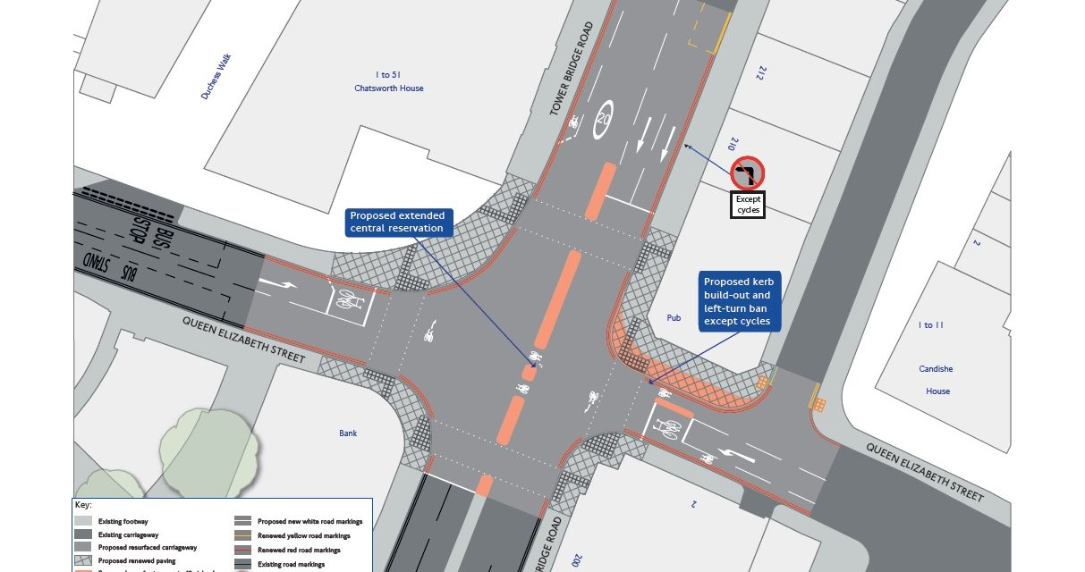 Proposals for the A100 Tower Bridge Road junction with Queen Elizabeth Street, Southwark