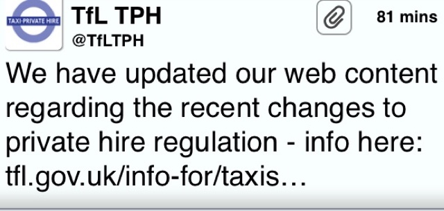 TfL Have Updated Their Website With Changes To Private Hire Regulations