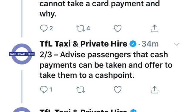 TFL advise Taxi Drivers refuse to take a card rather than use an alternative Payment Device