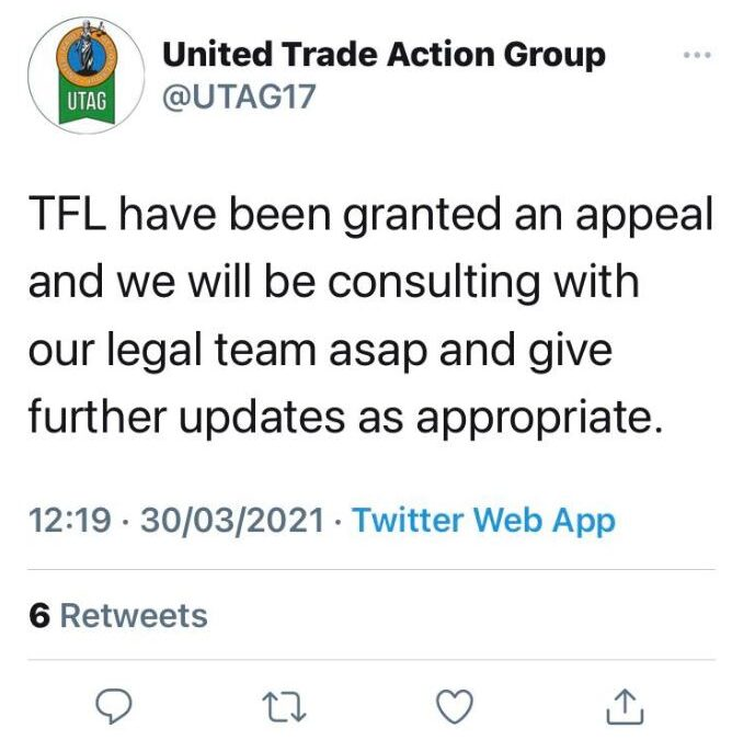 TFL have been granted an appeal