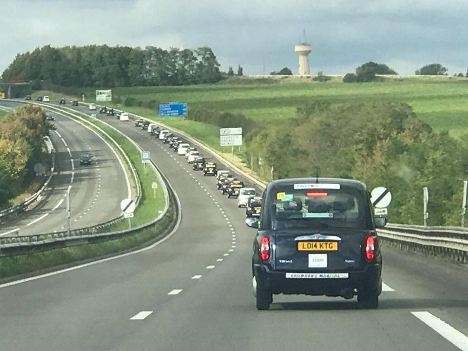 Taxi Convoy passing through France
